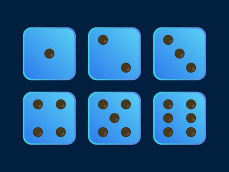Blue Colour Dice Vector Illustration
