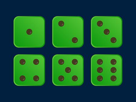 Green Colour Dice Vector Illustration Illustration