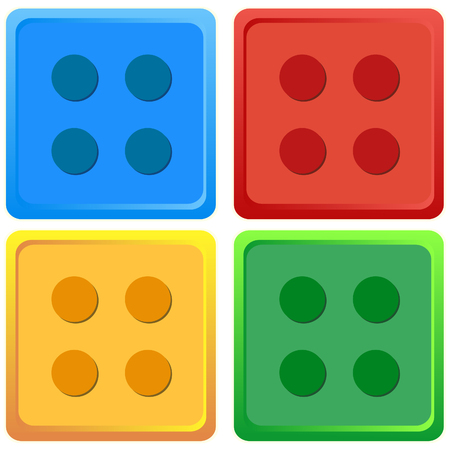 Blue, Red, Yellow, Green colour Toy Lego vector Illustration Set Illustration