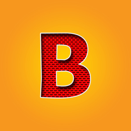 d a r e: Single Character B Font in Orange and Yellow color Alphabet