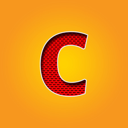 Single Character C Font in Orange and Yellow color Alphabet