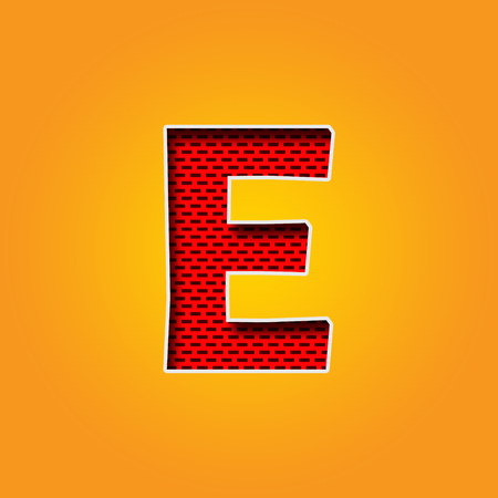 Single Character E Font in Orange and Yellow color Alphabet