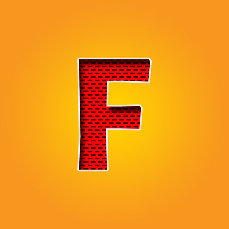d i y: Single Character F Font in Orange and Yellow color Alphabet