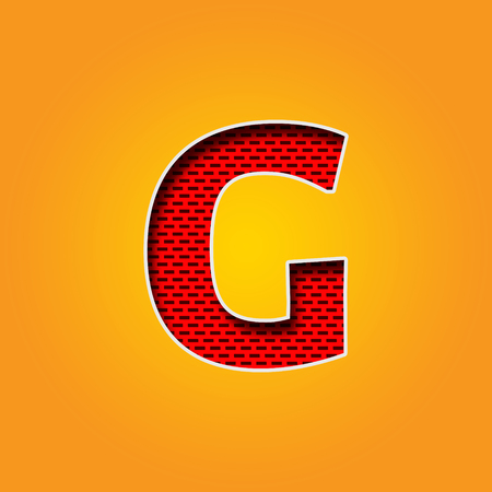 i l u: Single Character G Font in Orange and Yellow color Alphabet