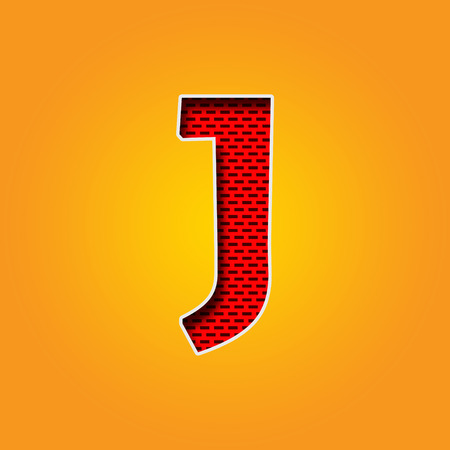 Single Character J Font in Orange and Yellow color Alphabet Banco de Imagens