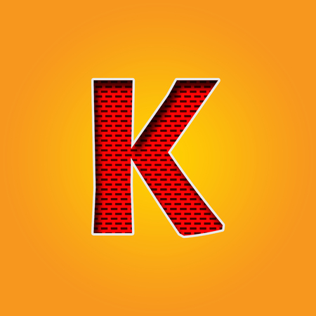 u k: Single Character K Font in Orange and Yellow color Alphabet