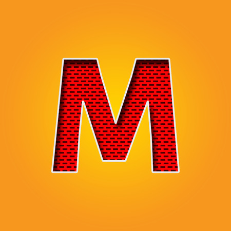 Single Character M Font in Orange and Yellow color Alphabet