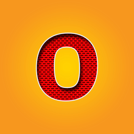 Single O Font in Orange and Yellow color Alphabet design