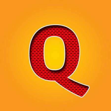 Single Q Font in Orange and Yellow color Alphabet design
