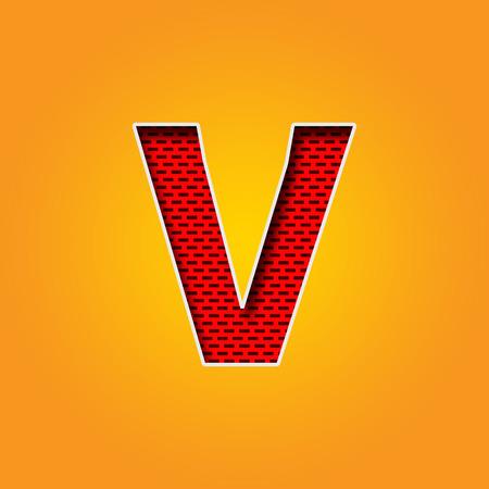 Single V Font in Orange and Yellow color Alphabet design