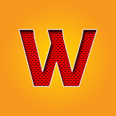 Single W Font in Orange and Yellow color Alphabet design