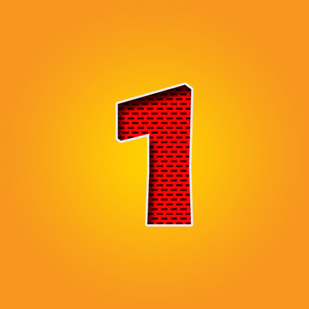 i l u: Single number 1 (One) Font in Orange and Yellow color Alphabet Stock Photo
