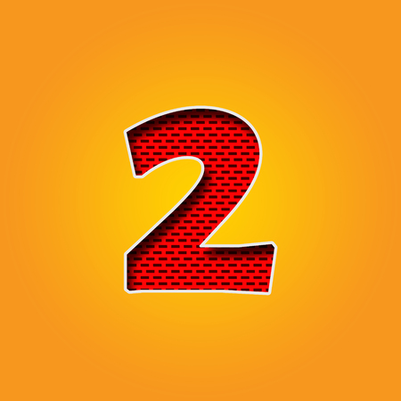 Single number 2 (Two) Font in Orange and Yellow color Alphabet