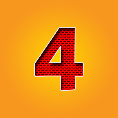 Single number 4 (Four) Font in Orange and Yellow color Alphabet Stock fotó