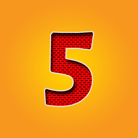 i l u: Single number 5 (Five) Font in Orange and Yellow color Alphabet Stock Photo