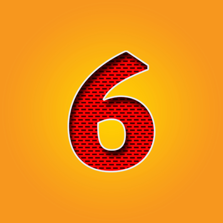 u  k: Single number 6 (Six) Font in Orange and Yellow color Alphabet