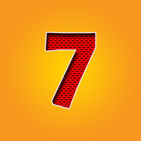 Single number 7 (Seven) Font in Orange and Yellow color Alphabet Stock fotó