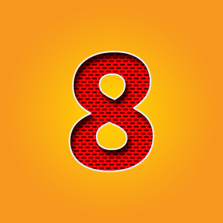 Single number 8 (Eight) Font in Orange and Yellow color Alphabet Stock Photo
