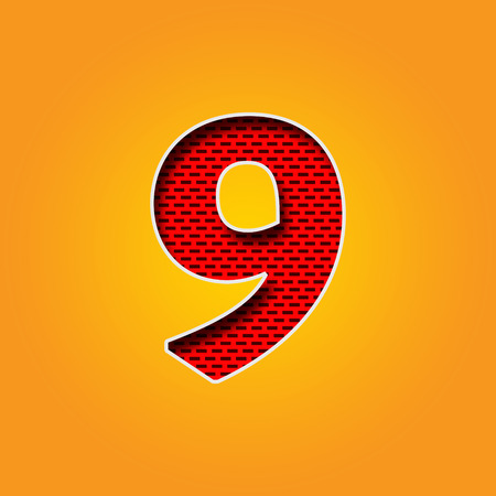 u  k: Single number 9 (Nine) Font in Orange and Yellow color Alphabet Stock Photo