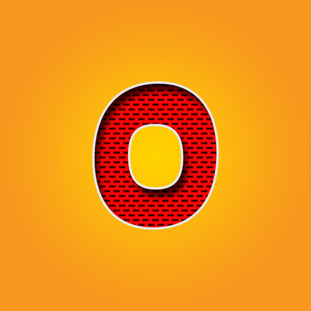 u k: Single number 0 (Zero) Font in Orange and Yellow color Alphabet