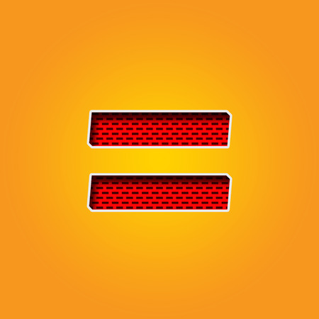 Single Character = Equal Sign Font In Orange And Yellow Color ...