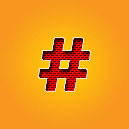 Seule police de signe de hashtag de caractère dans l\'alphabet de couleur  orange et jaune. Ceci est une police de caractère de signe de hashtag dans  ...