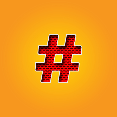 Single Character   hashtag Sign Font in Orange and Yellow color Alphabet. This is a   hashtag Sign Character Font in Red Wall Design Illustration. it is Red and Maroon colour. this Character Background in Yellow and Orange gradient colour. you can use it
