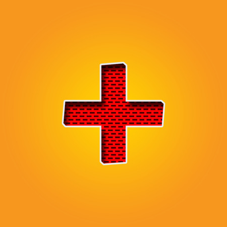 Single Character + Plus Sign Font in Orange and Yellow color Alphabet. This is a + Plus Sign Character Font in Red Wall Design Illustration. it is Red and Maroon colour. this Character Background in Yellow and Orange gradient colour. you can use it for ma