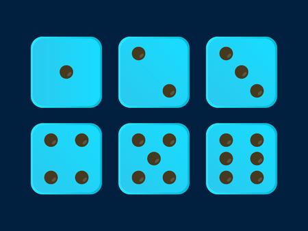 Neo Blue color Vector Dice