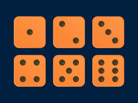 Orange color Vector Dice