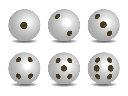 3d White Color Vector Dice Illustration