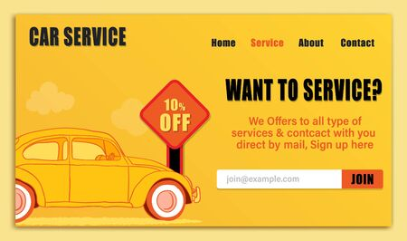 Web Graphics designed landing page of car service with yellow color, subscription button.