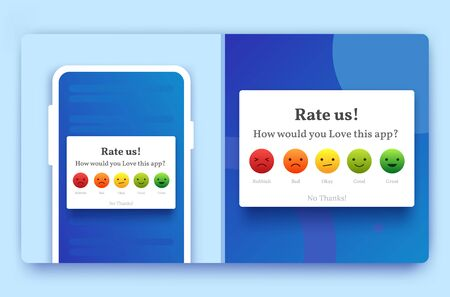Rate us feedback popup for mobile in blue color with emoji of bad, good, happy, and average