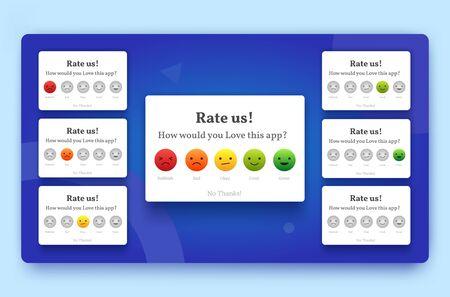 Rate us feedback popup set with bad, okay, good, and great emoji