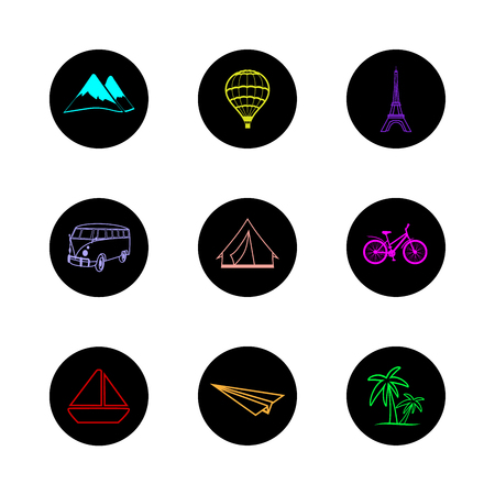 skillfully: travel icons round hand painted