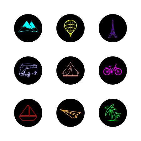 masterly: travel icons round hand painted