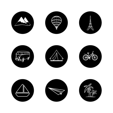 skillfully: travel icons round black white hand painted