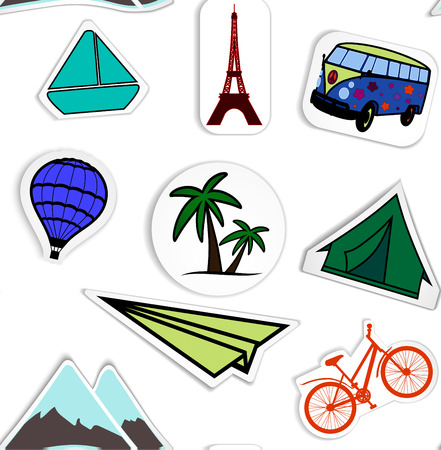 masterly: travel sticker paper application pattern background hand painted seamless