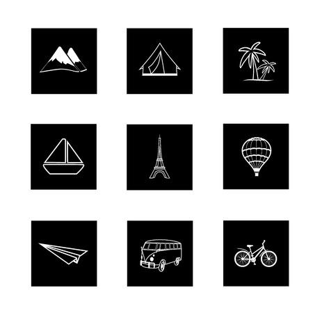 masterly: travel icons square black white hand painted Illustration
