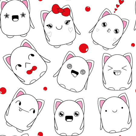 cuteness: kitten pattern doodle monster white hand painted seamless