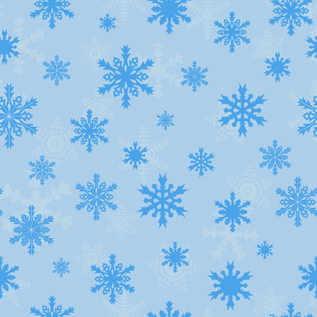 Snowflakes on blue sky - Christmas seamless background Illustration
