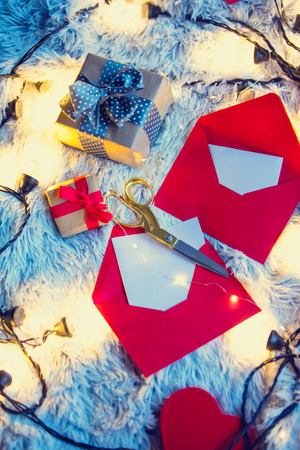 boxing day: Christmas or St. Valentines Day gifts on soft background