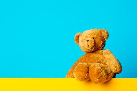 photo of cute teddy bear on the wonderful blue studio background