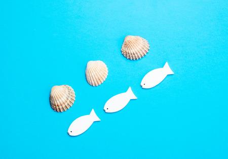 photo of fish shaped toys and seashells on the wonderful blue studio background