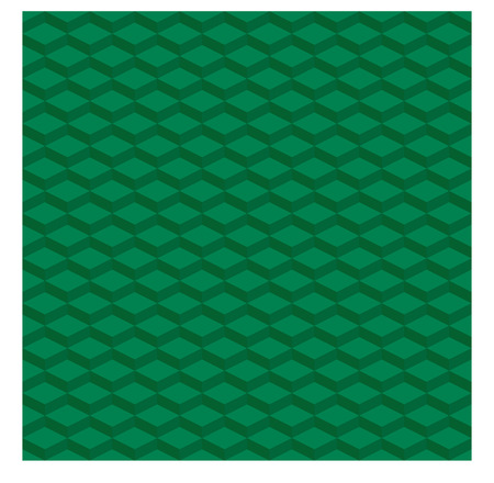 Seamless abstract green pattern of repeating geometric shape with shades that create an optical illusion of three dimensional depth.