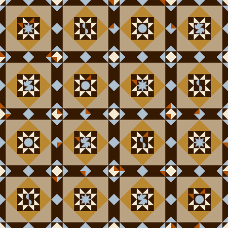 Seamless abstract Art Decor inspired tiles pattern in brown, gold, sand and rust colors and light blue contrasting tiles.