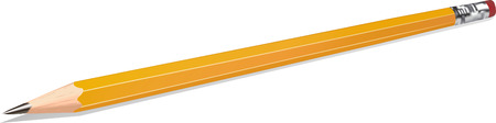 Realistic highly detailed vector illustration of an isolated yellow school pencil on white background