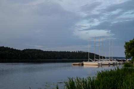 A row of small sailing boats lay moored, side by side, in a tranquil bay of lake Malaren, a summer morning in Sweden
