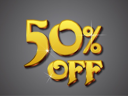 percentage: Gold emboss 50% Off Text Illustration