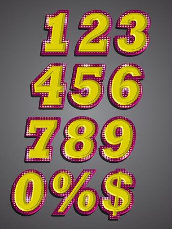 Set of number text effect emboss Vector